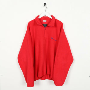 Vintage 90s SERGIO TACCHINI Small Logo Zip Up Fleece Top Red | 2XL