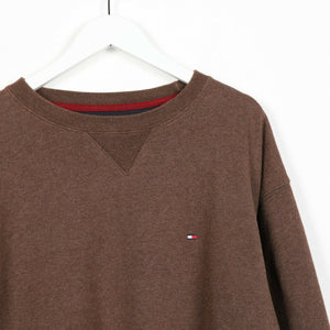 Vintage TOMMY HILFIGER Small Logo Sweatshirt Jumper Brown Large L