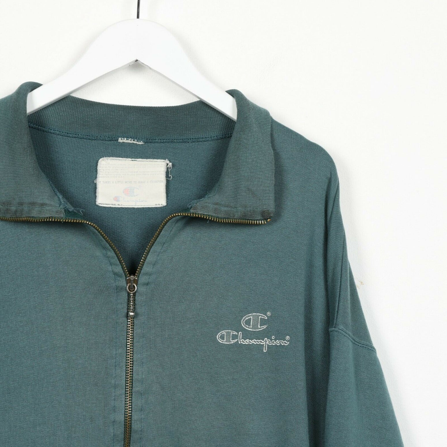 Vintage 90s CHAMPION Small Logo Zip Up Hoodie Sweatshirt Green 2XL