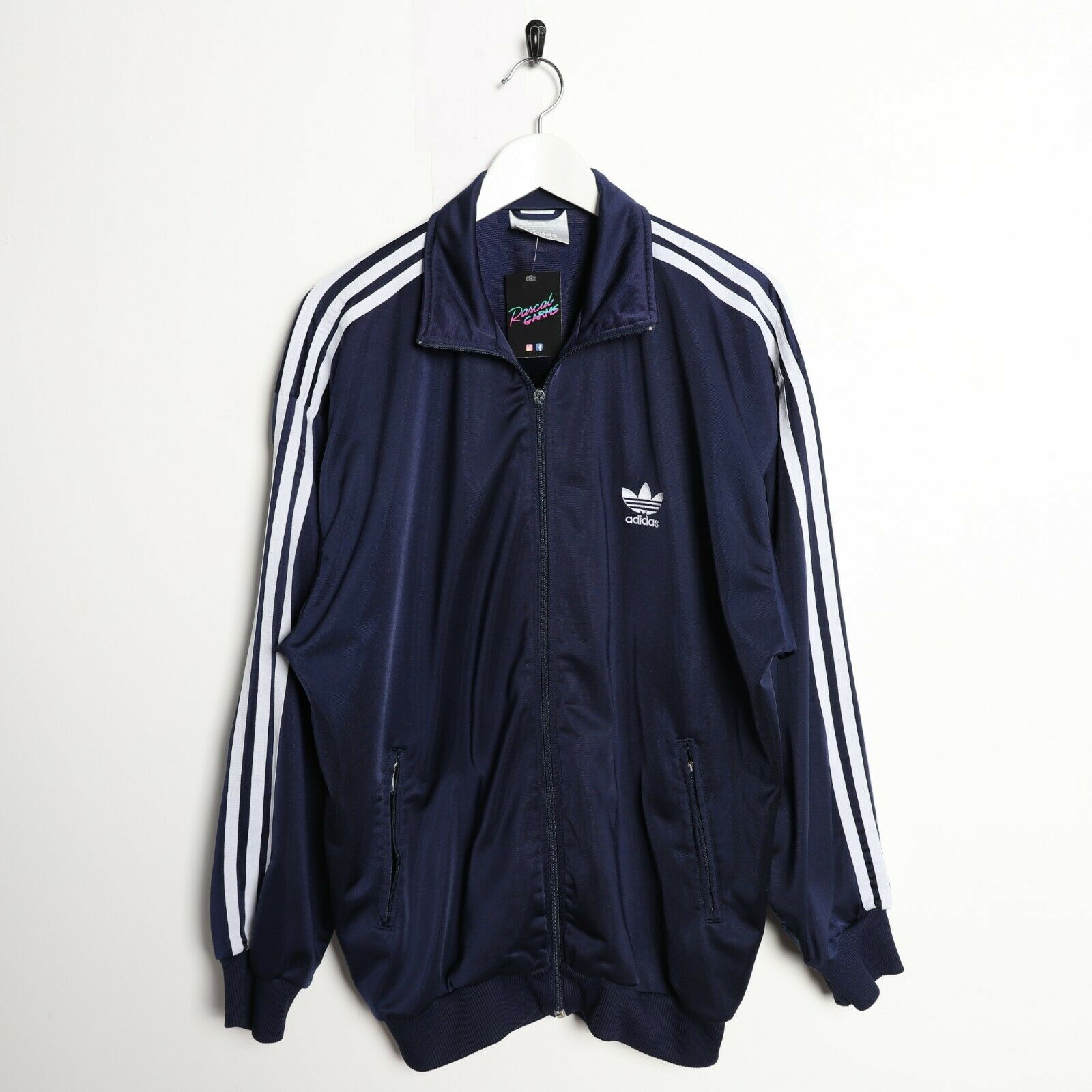 Vintage 80s ADIDAS Small Logo Tracksuit Top Jacket Navy Blue Large L