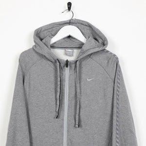 Vintage NIKE Small Logo Zip Up Hoodie Sweatshirt Grey | Small S