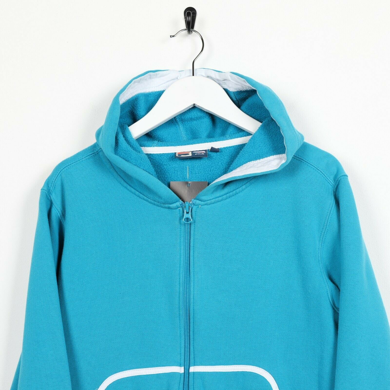 Vintage Women's FILA Small Logo Zip Up Hoodie Sweatshirt Blue | Medium M