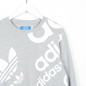 Vintage ADIDAS ORIGINALS Big Graphic Logo Sweatshirt Jumper Grey | Small S