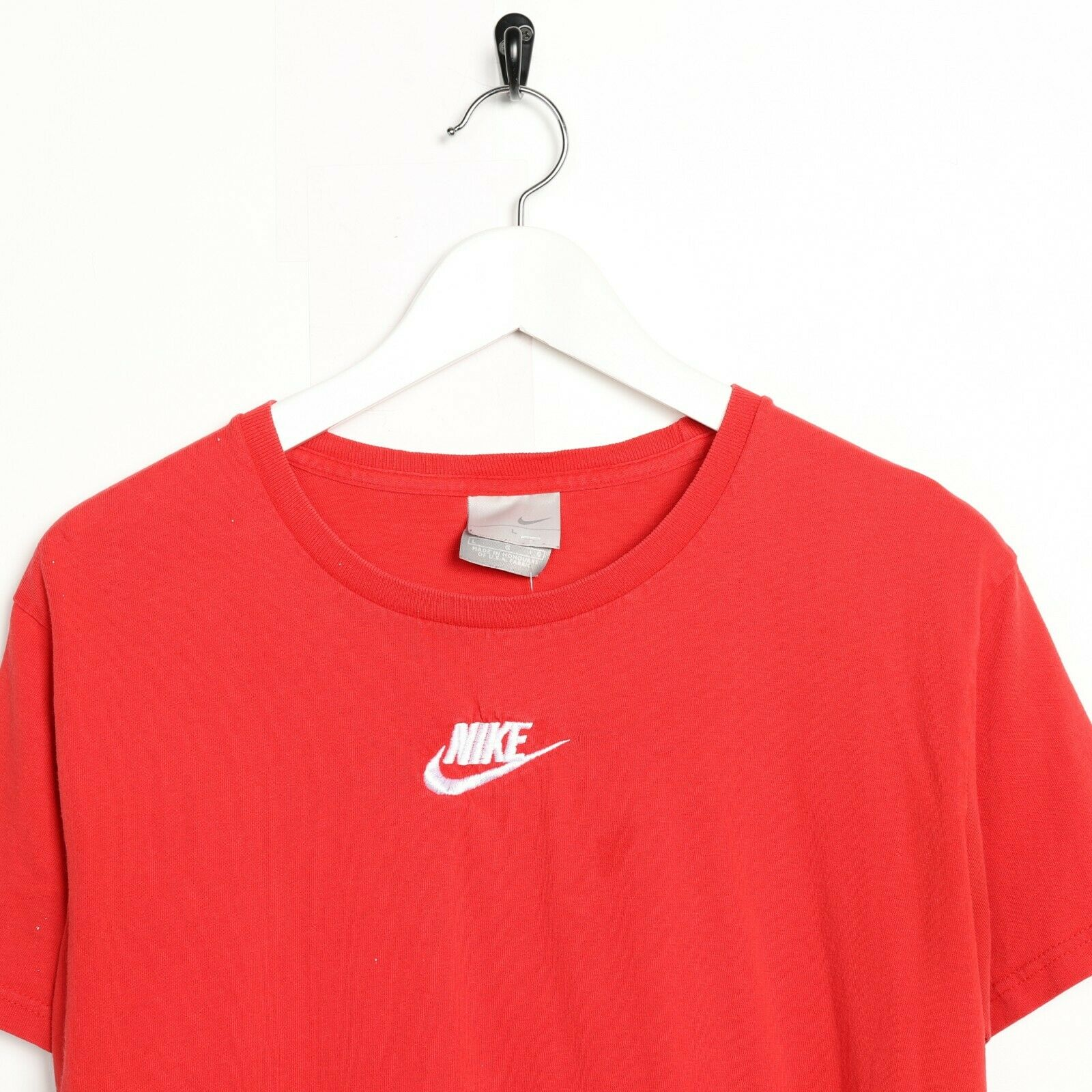 Vintage NIKE Small Central Logo T Shirt Tee Red | Large L