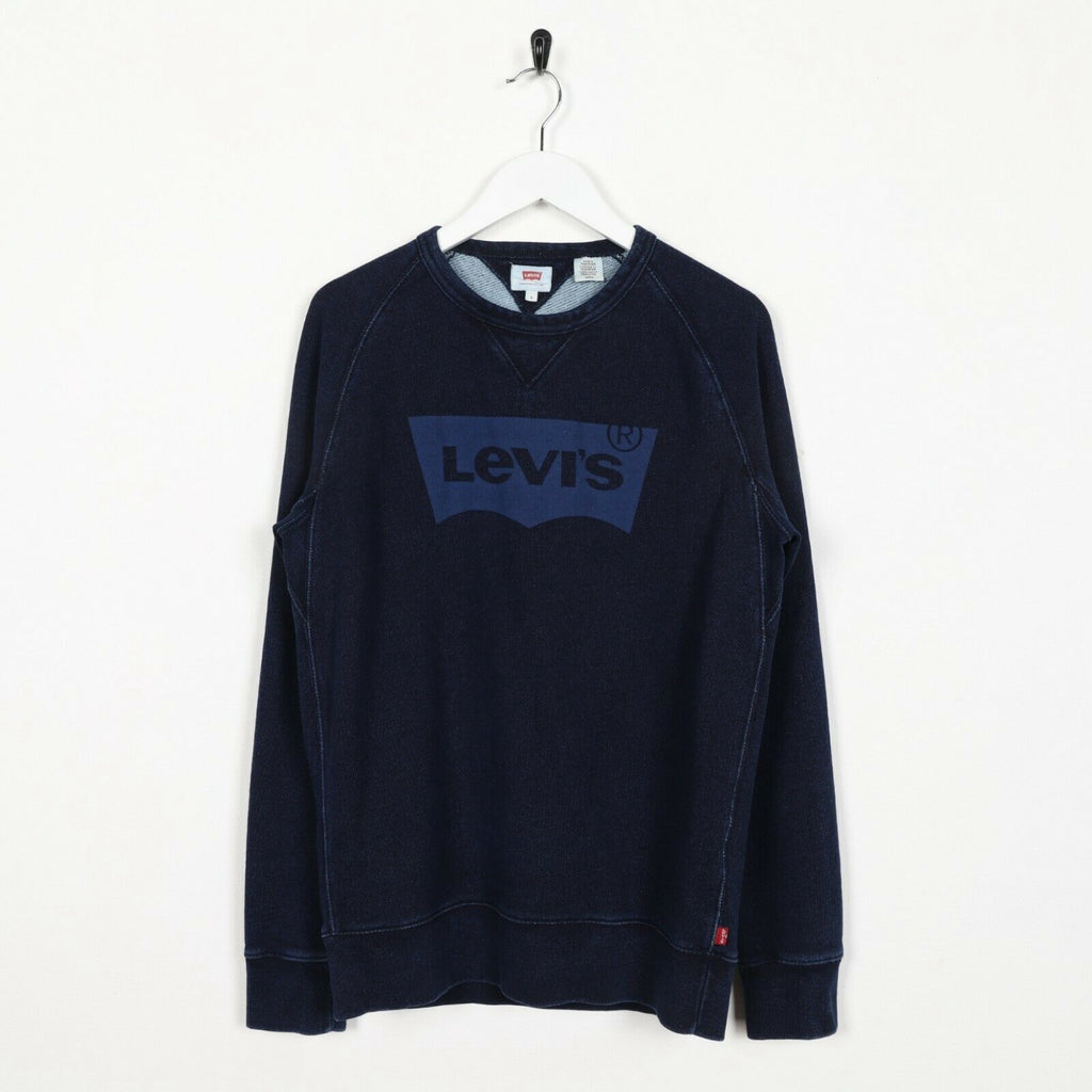 Vintage LEVI'S Big Logo Sweatshirt Jumper Blue | Small S