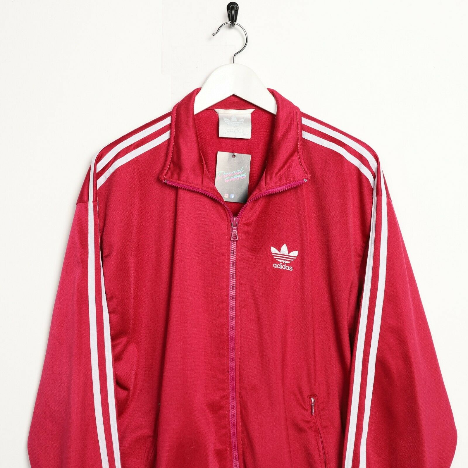 Vintage 80s ADIDAS Small Logo Track Top Jacket Pink Large L