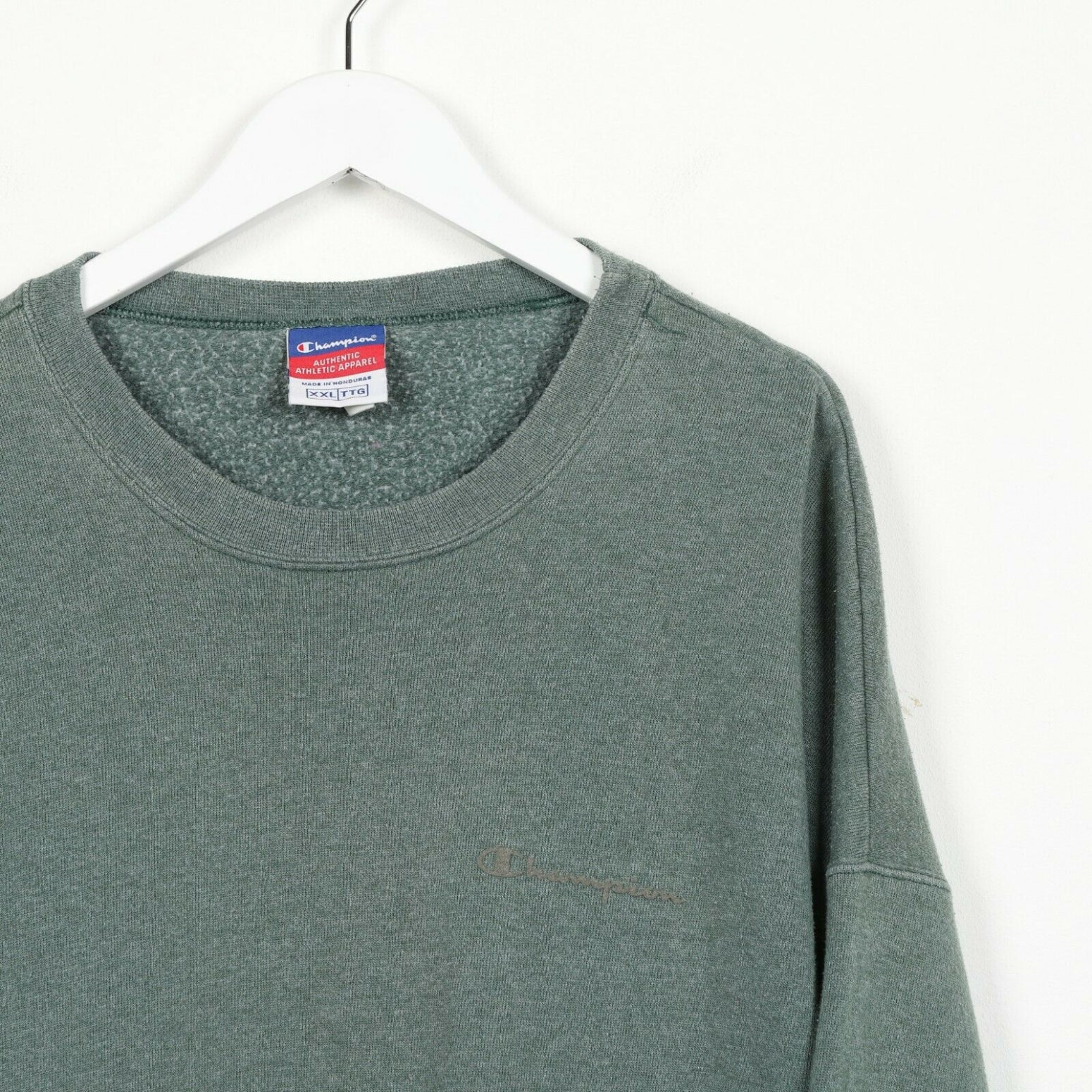 Vintage CHAMPION Small Logo Sweatshirt Jumper Green | 2XL