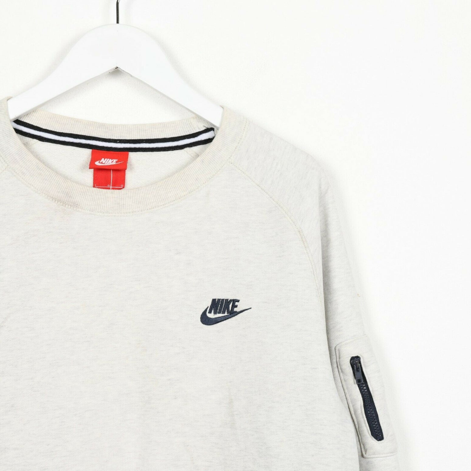 Vintage NIKE Small Logo Sweatshirt Jumper Grey | Large L