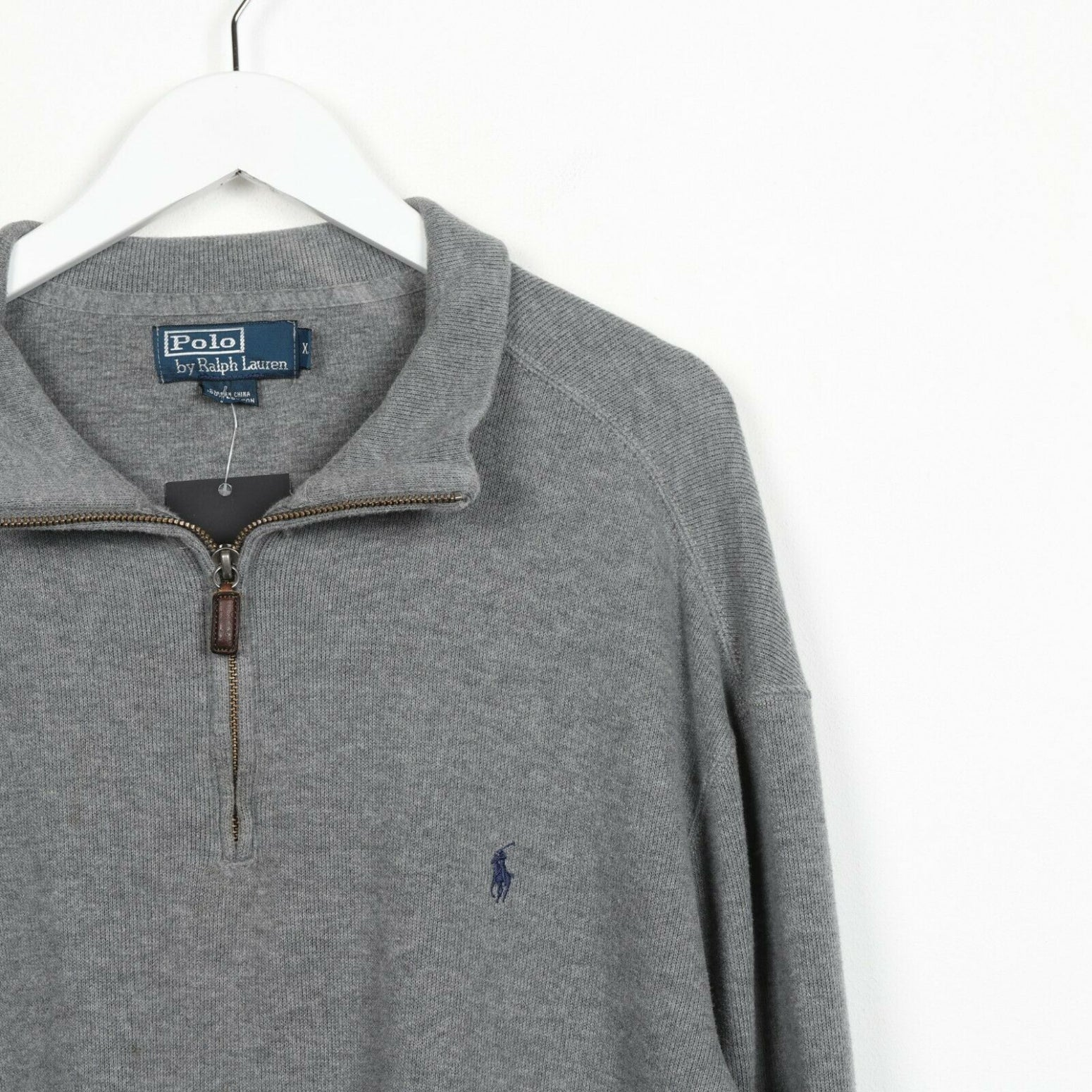 Vintage RALPH LAUREN Small Logo 1/4 Zip Sweatshirt Jumper Grey | XL