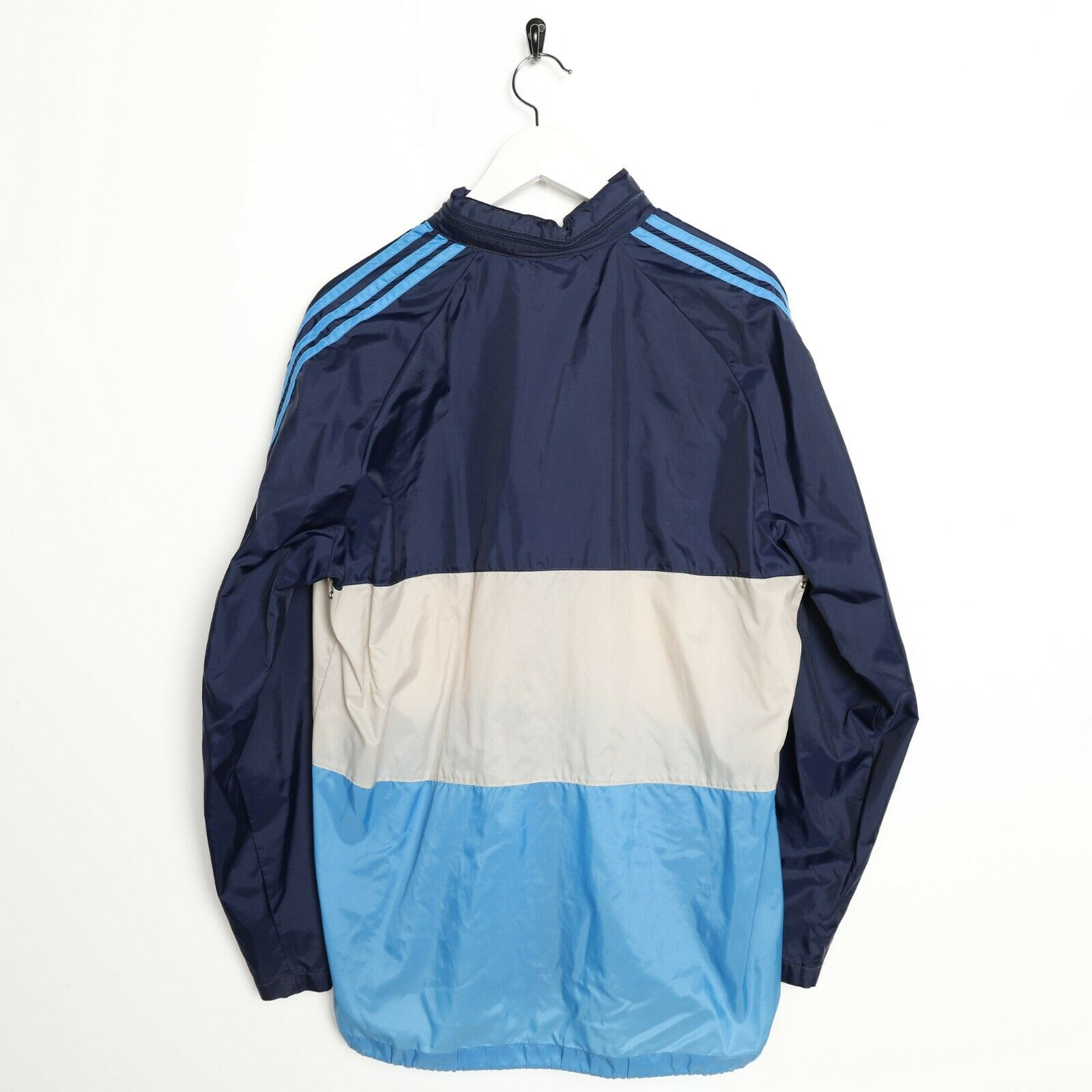 Vintage 80s ADIDAS Lightweight Anorak Windbreaker Jacket Navy Blue | Small S