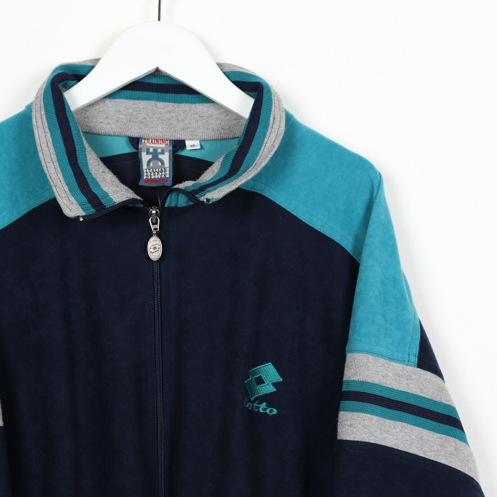 Vintage LOTTO Small Logo Track Top Jacket Navy Blue Teal XL