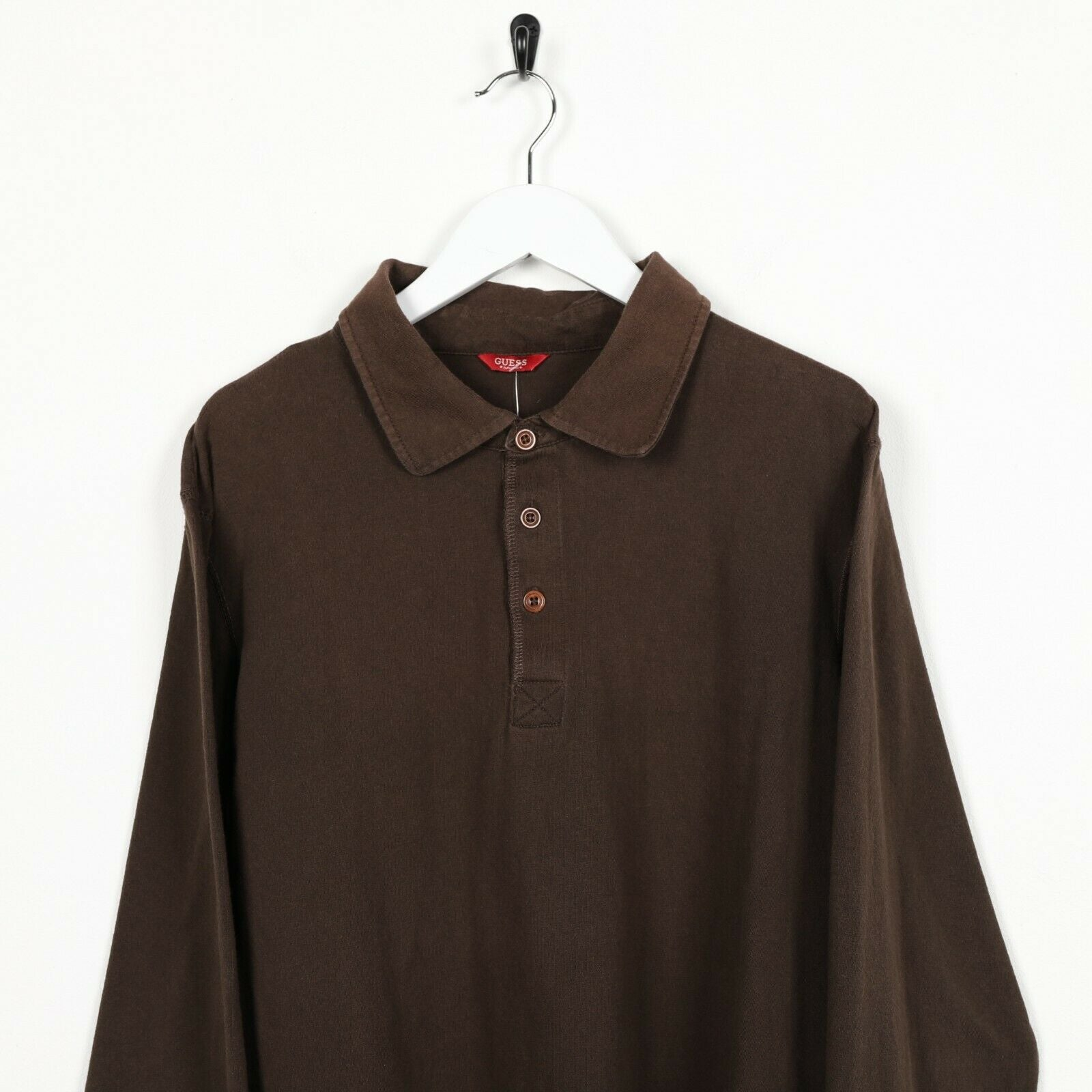 Vintage GUESS Big Back Logo Long Sleeve Polo Shirt Top Brown | XL