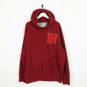 Vintage NIKE Big Logo Hoodie Sweatshirt Burgundy Red XL