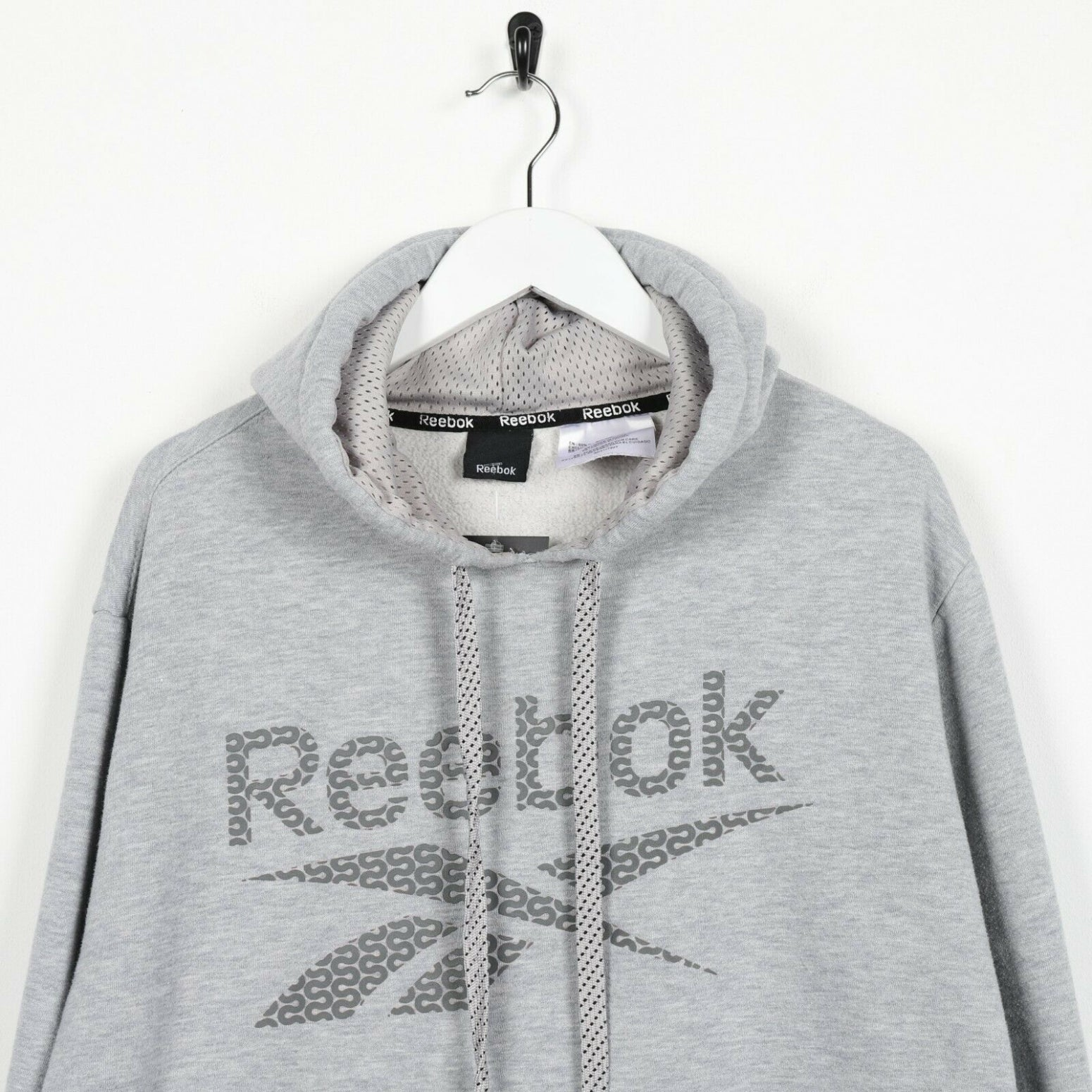 Vintage REEBOK Big Spell Out Graphic Logo Hoodie Sweatshirt Grey Large L
