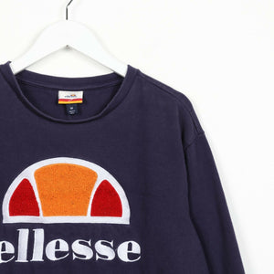 Vintage ELLESSE Big Spell Out Logo Sweatshirt Jumper Navy Blue | Medium M