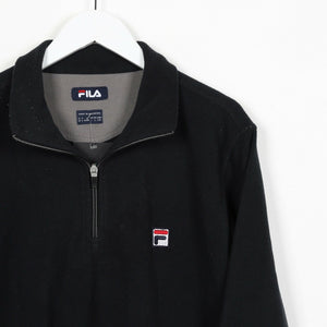 Vintage FILA Small Logo 1/4 Zip Fleece Top Black | Large L
