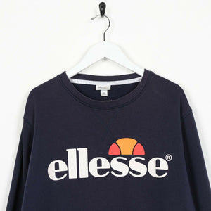 Vintage ELLESSE Big Spell Out Logo Sweatshirt Jumper Navy Blue | 2XL