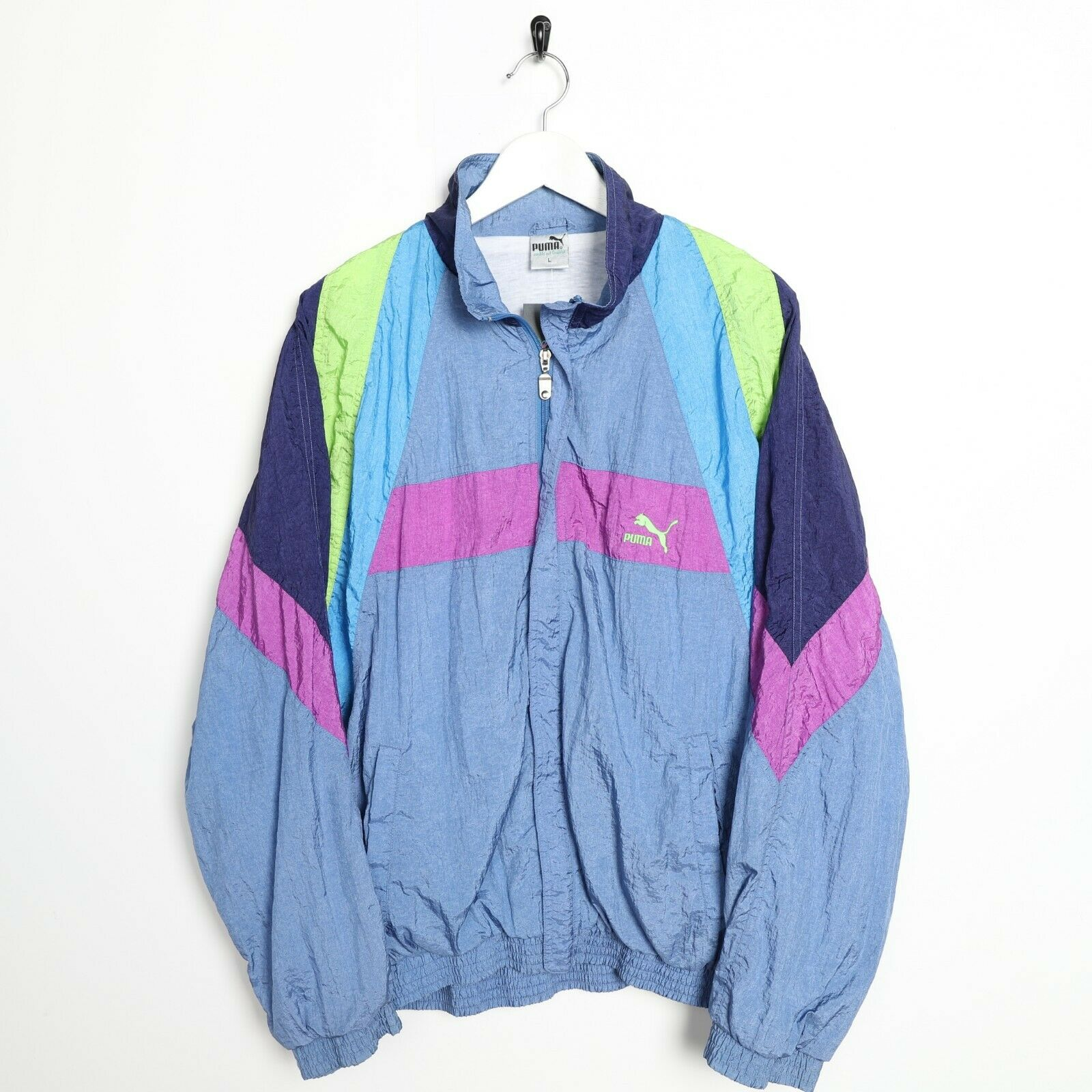 Vintage 90s PUMA Small Logo Soft Shell Windbreaker Jacket Blue | Medium M