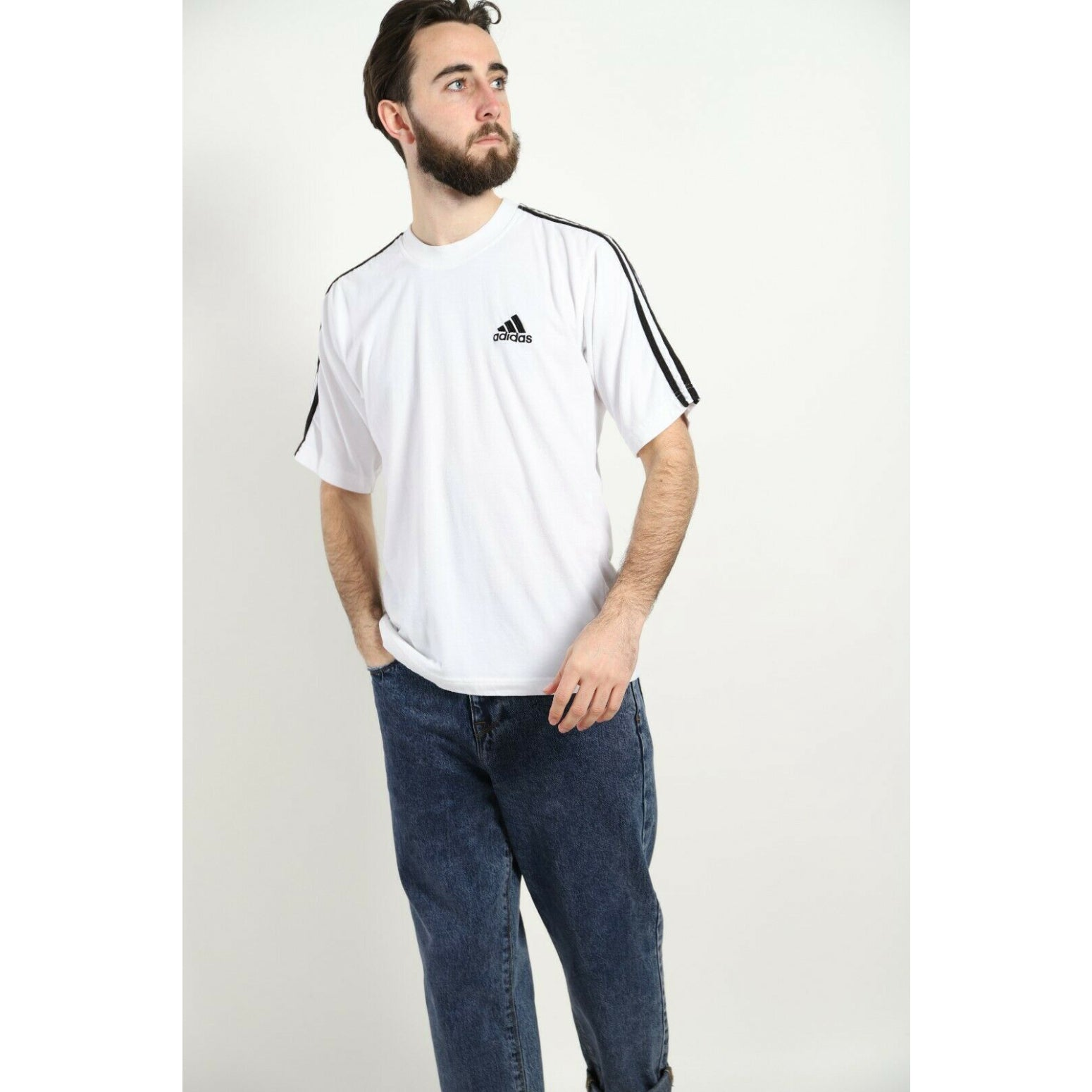 Vintage 90s ADIDAS T Shirt Small Logo White | Small S