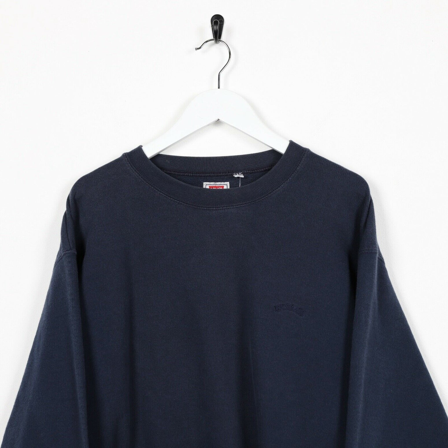 Vintage 90's LEVI'S Small Spell Out Sweatshirt Jumper Navy Blue | Large L