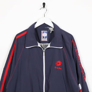 Vintage 90s LOTTO Small Logo Soft Shell Windbreaker Jacket Navy Blue | XL