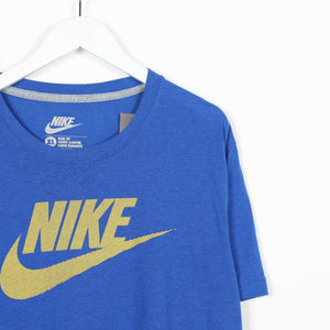 Vintage NIKE Big Spell Out Logo T Shirt Tee Blue | XL