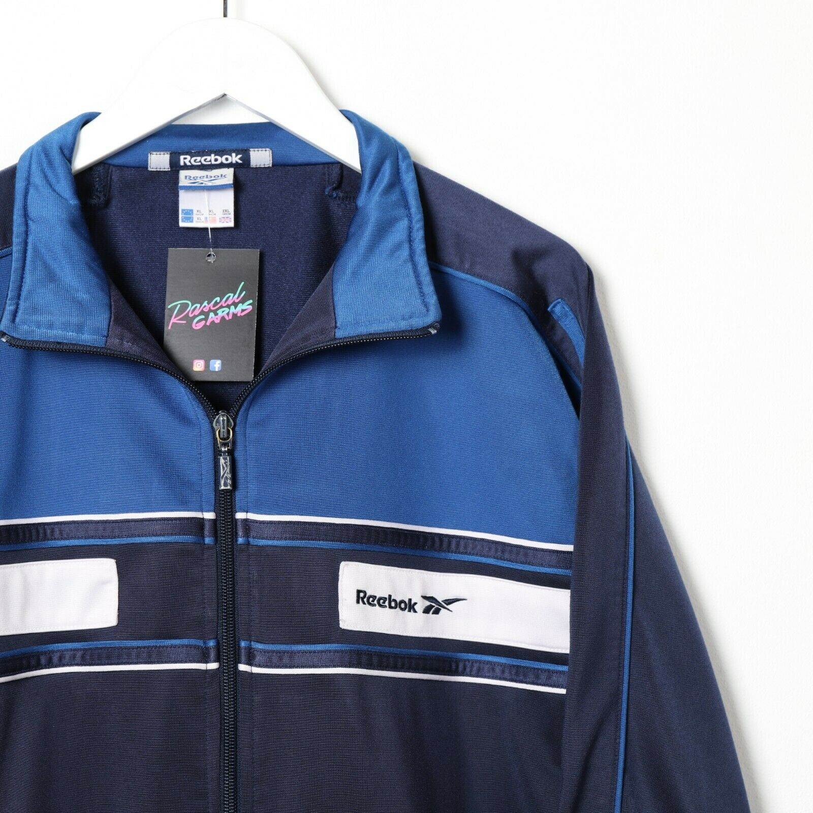 Vintage REEBOK Small Logo Back Spell Out Track Top Jacket Navy Blue | Small S