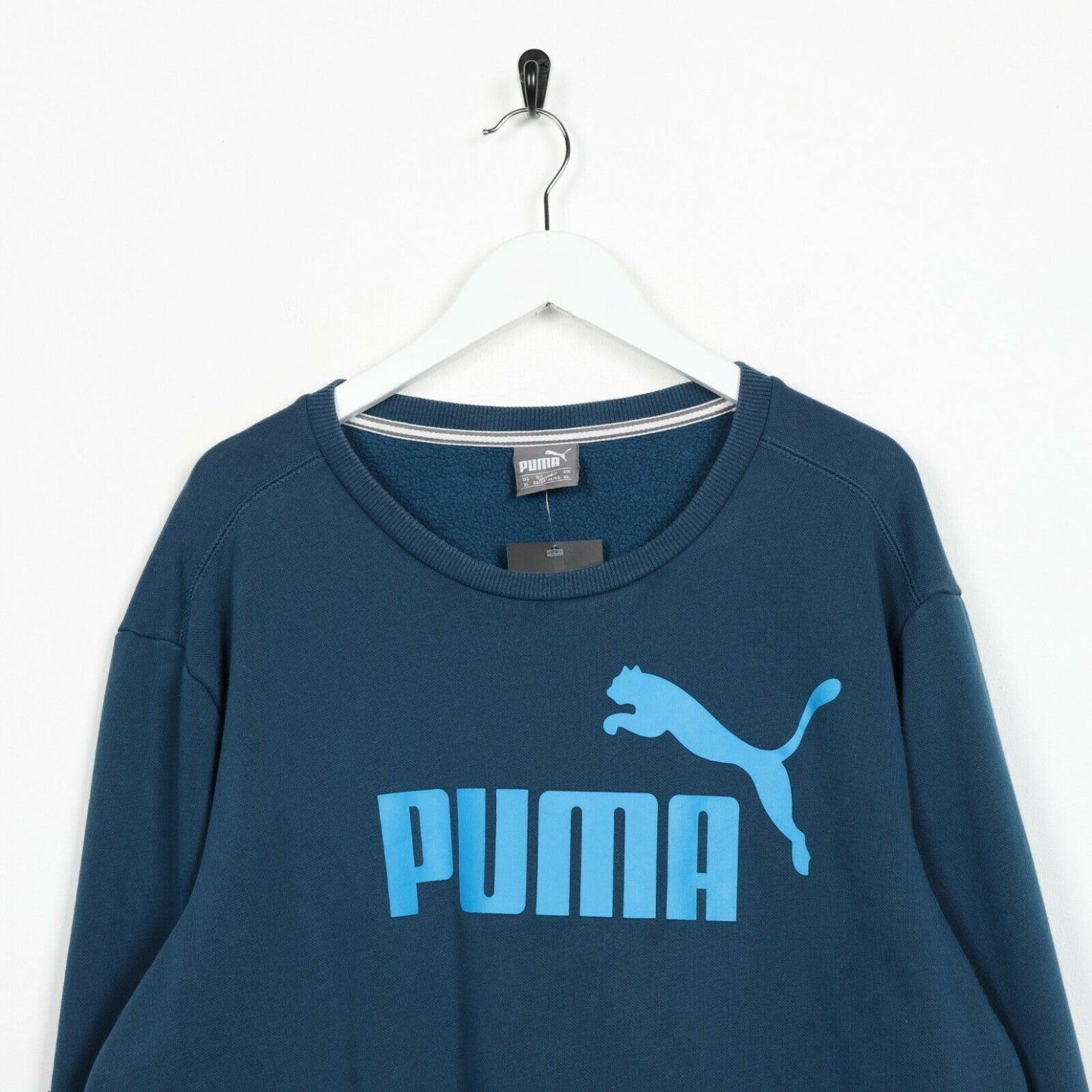Vintage PUMA Big Logo Sweatshirt Jumper Blue | XL