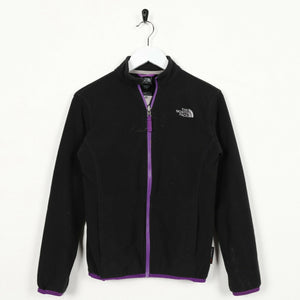 Vintage Women's THE NORTH FACE Small Logo Zip Up Fleece Top Black XS