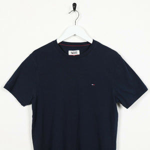 Vintage TOMMY HILFIGER Small Logo T Shirt Tee Navy Blue | Small S