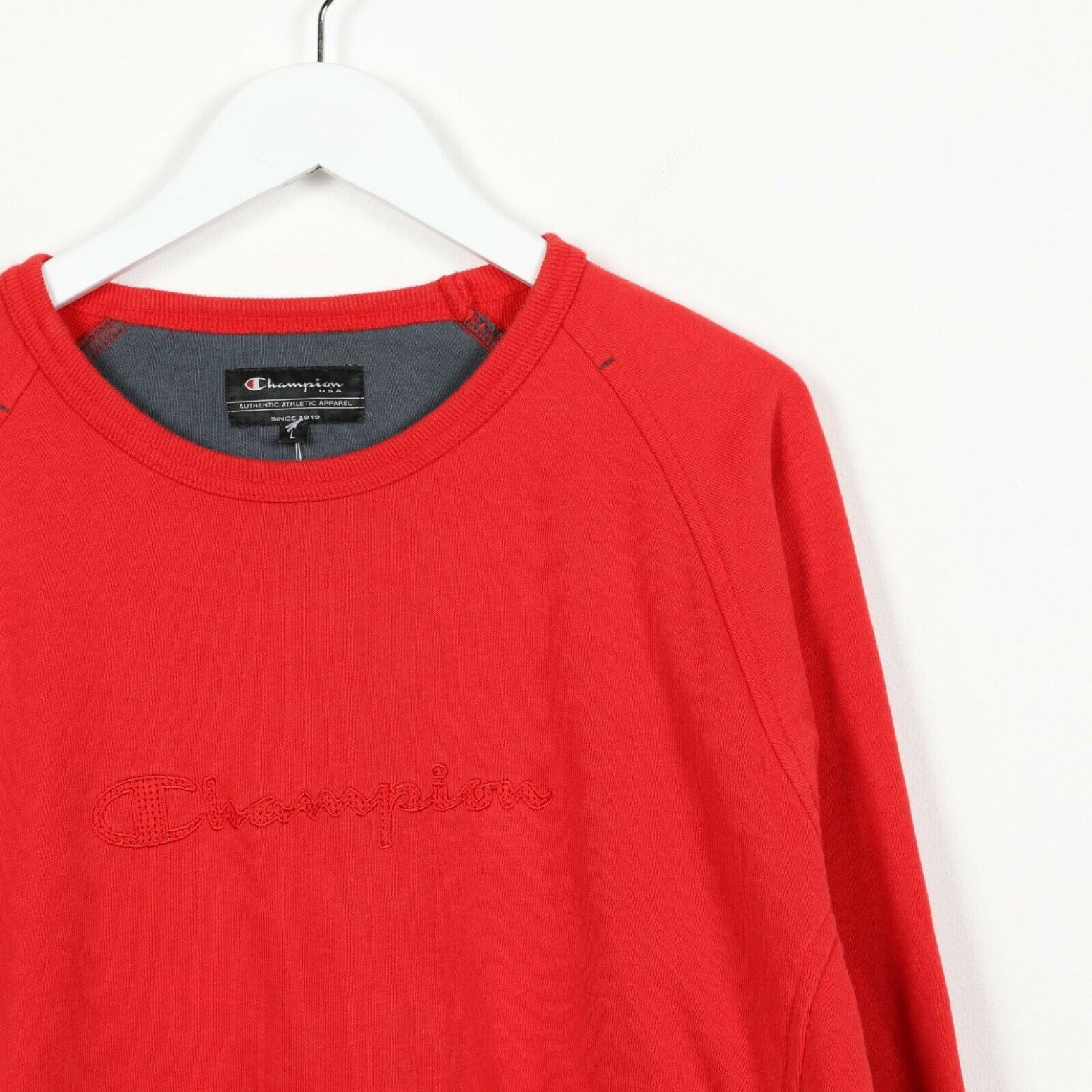 Vintage CHAMPION Spell Out Sweatshirt Jumper Red Large L