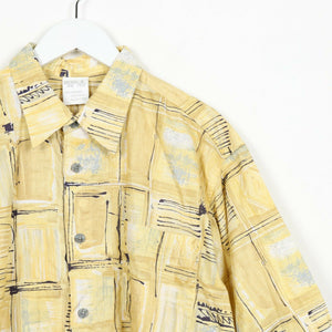 Vintage 90s ABSTRACT Short Sleeve Festival Shirt Yellow Large L
