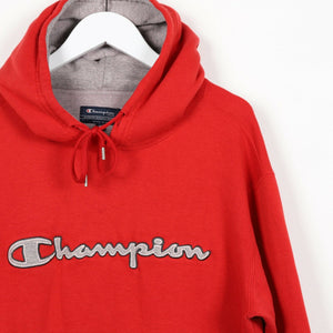 Vintage CHAMPION Central Spell Out Logo Hoodie Sweatshirt Red | Small S