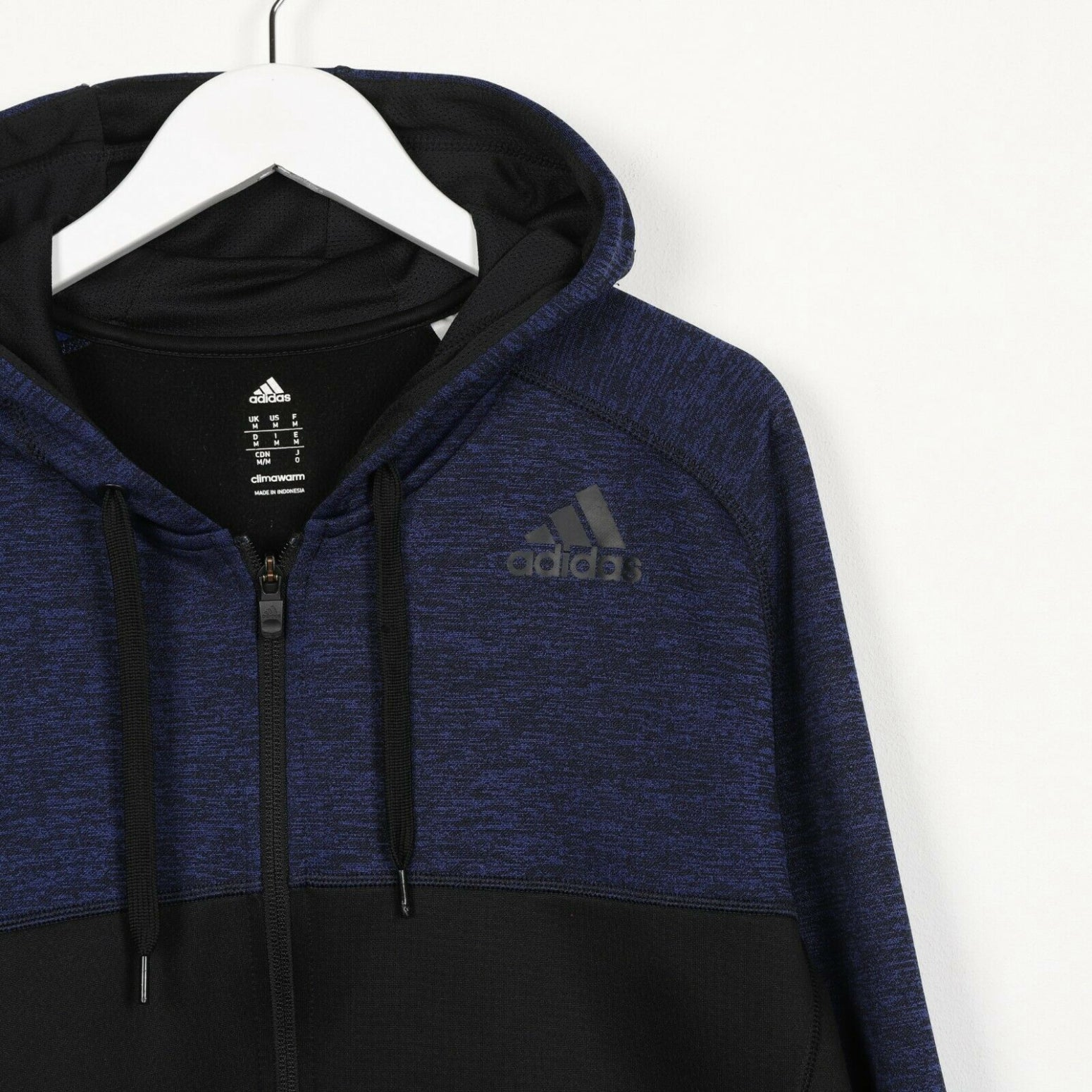 Vintage ADIDAS Small Logo Polyester Hoodie Sweatshirt Blue Black Medium M