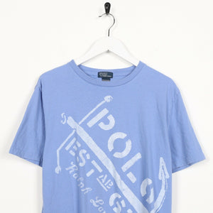 Vintage RALPH LAUREN Graphic Logo T Shirt Tee Blue | Small S