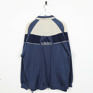 Vintage 90s ADIDAS Back Spell Out Logo Track Top Jacket Navy Blue Large L