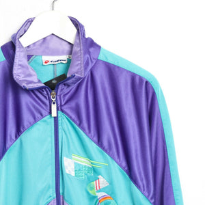 Vintage 90s LOTTO Tracksuit Top Jacket Purple Green | Large L