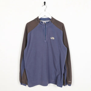 Vintage THE NORTH FACE Small Logo 1/4 Zip Fleece Top Blue | Large L