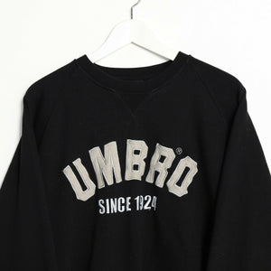 Vintage UMBRO Spell Out Sweatshirt Jumper Black Medium M