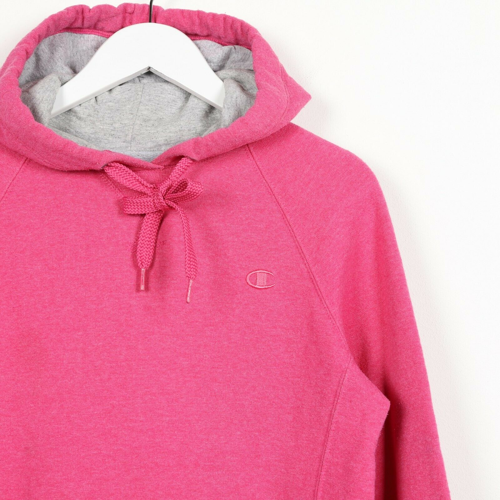 Vintage Women's CHAMPION Small Logo Hoodie Sweatshirt Pink | Medium M