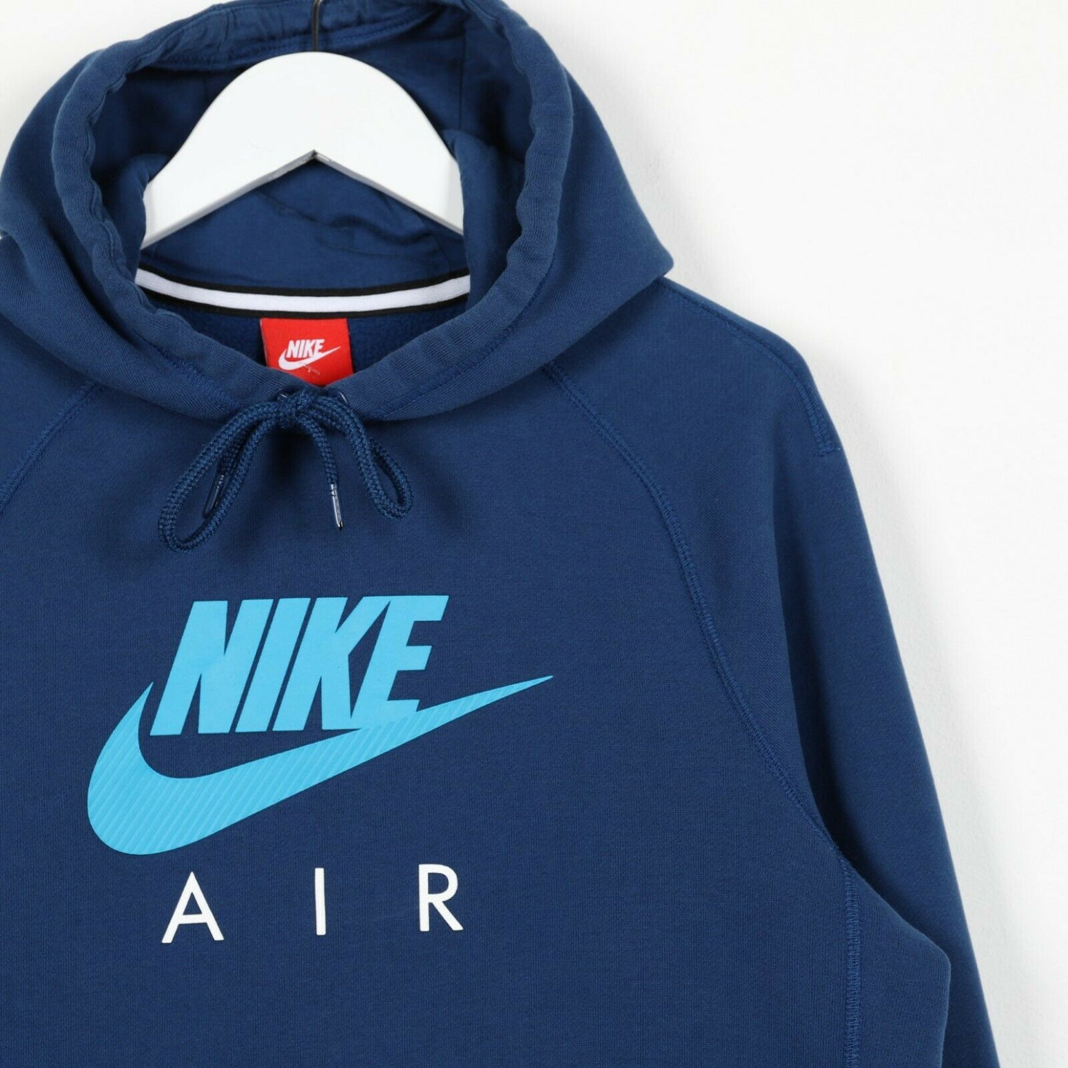 Vintage NIKE Spell Out Logo Hoodie Sweatshirt Blue | Small S
