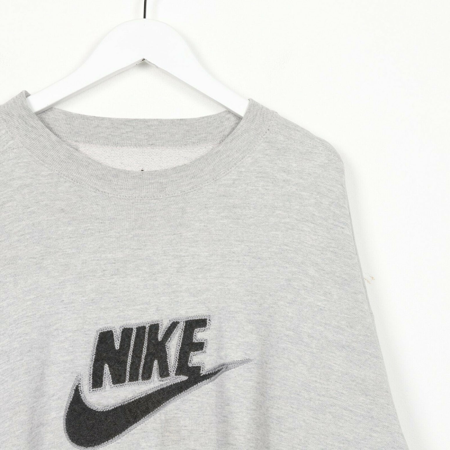 Vintage NIKE Big Spell Out Logo Sweatshirt Jumper Grey | 2XL