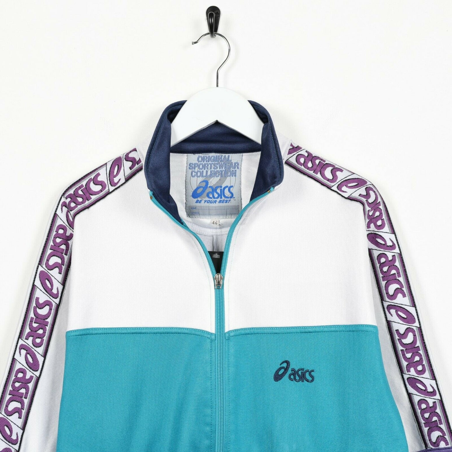Vintage ASICS Small Logo Tape Arm Track Top Turquoise White Medium M