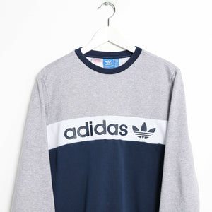 Vintage ADIDAS ORIGINALS Spell Out Sweatshirt Jumper Grey | Small S