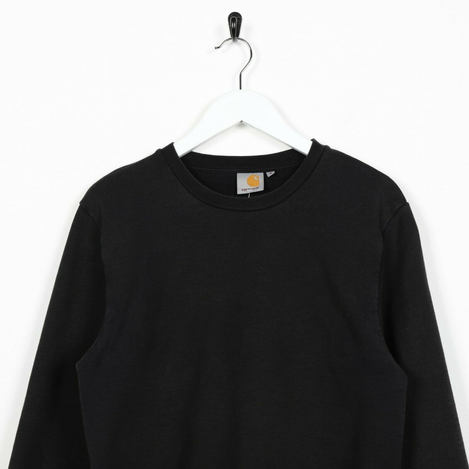 Vintage CARHARTT Small Logo Sweatshirt Jumper Black Grey | Small S