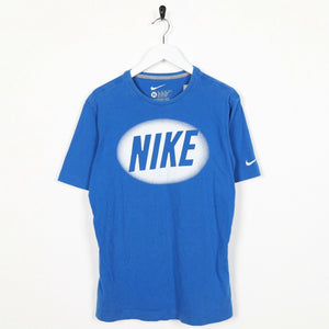 Vintage NIKE Big Central Spell Out Logo T Shirt Tee Blue XL