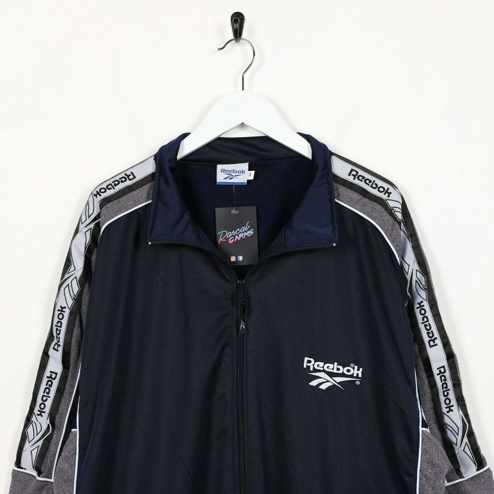Vintage 90s REEBOK Tape Arm Logo Tracksuit Top Jacket Navy Blue Grey | XL