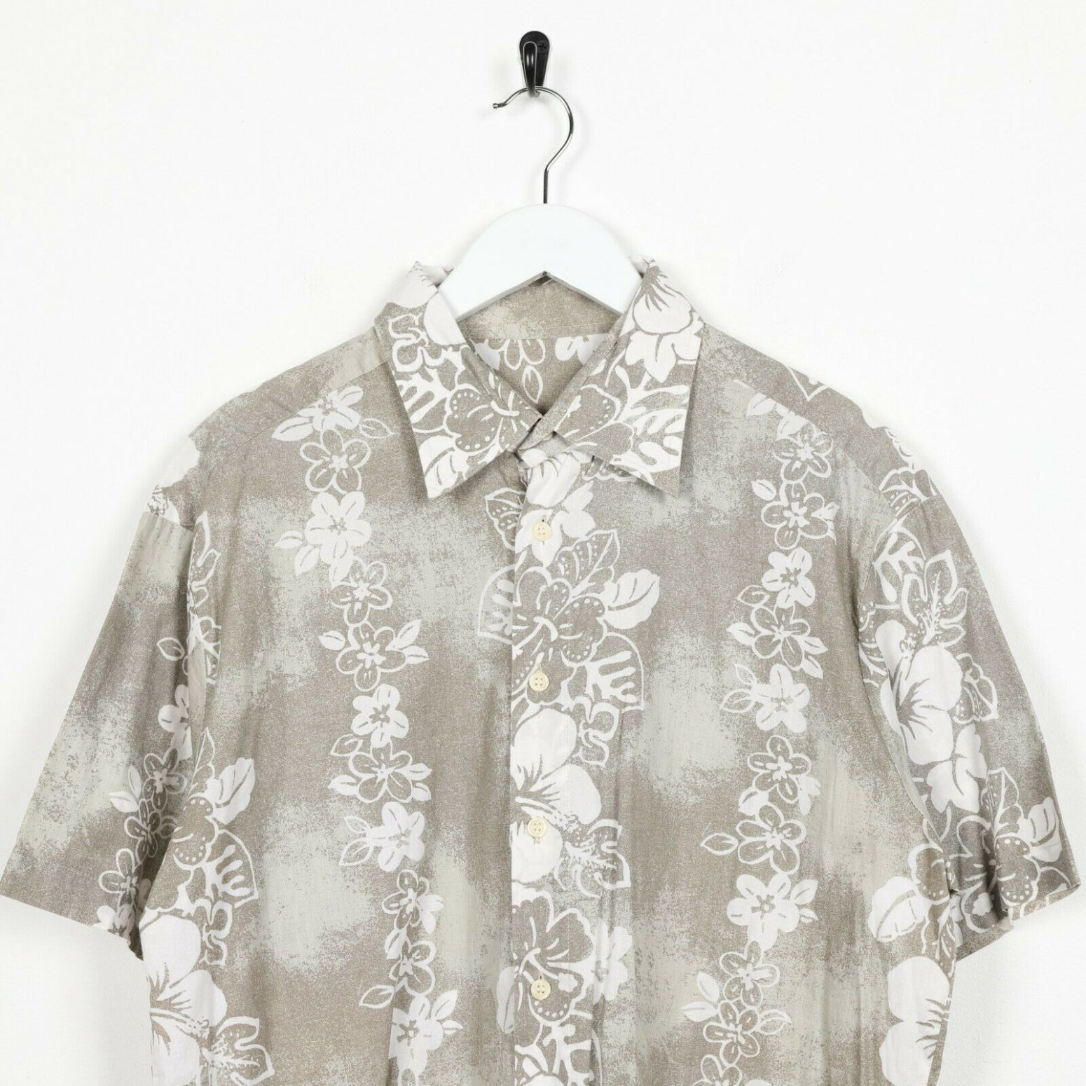 Vintage 90s ABSTRACT Short Sleeve Festival Shirt Grey Large L