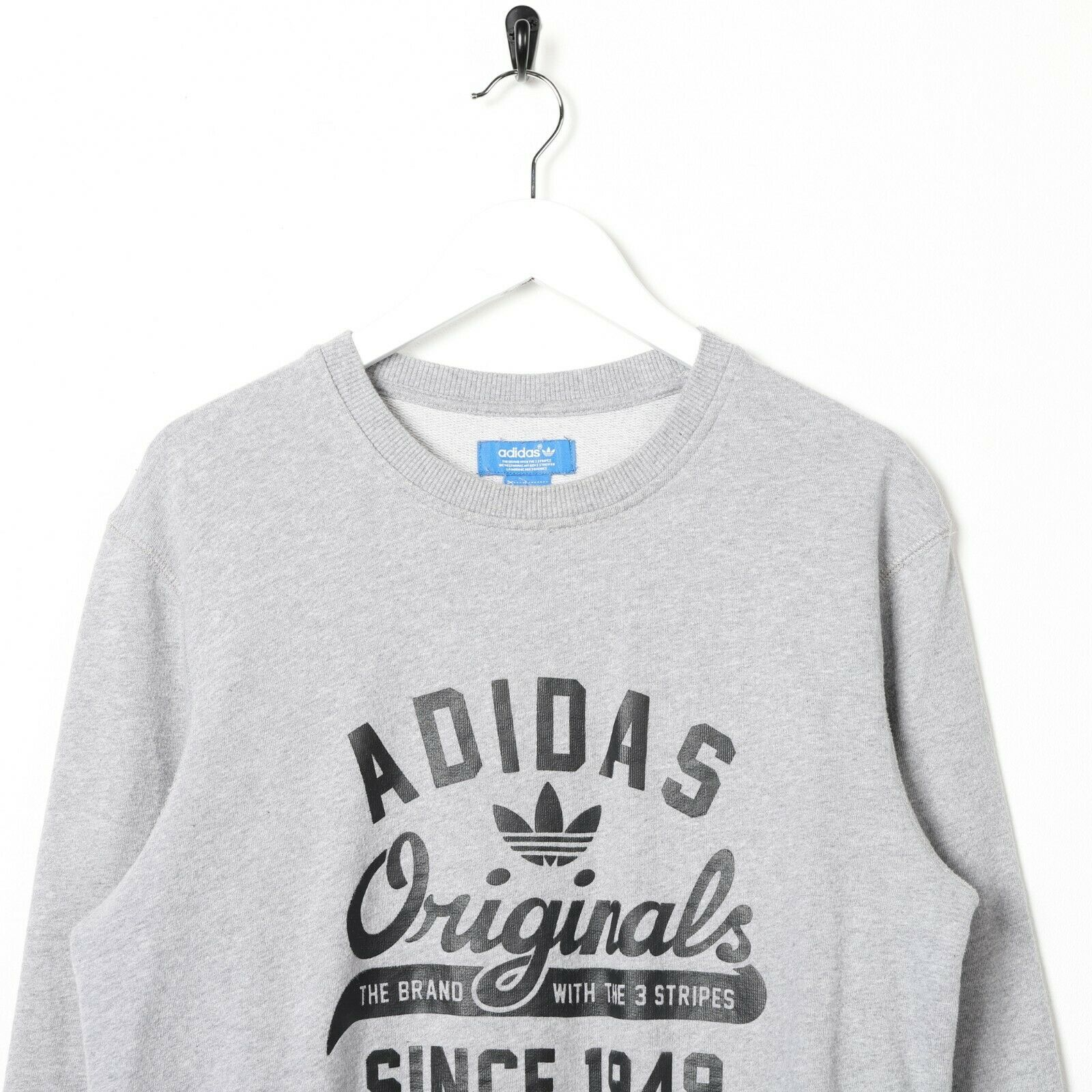 Vintage ADIDAS ORIGINALS Graphic Logo Sweatshirt Jumper Grey Small S