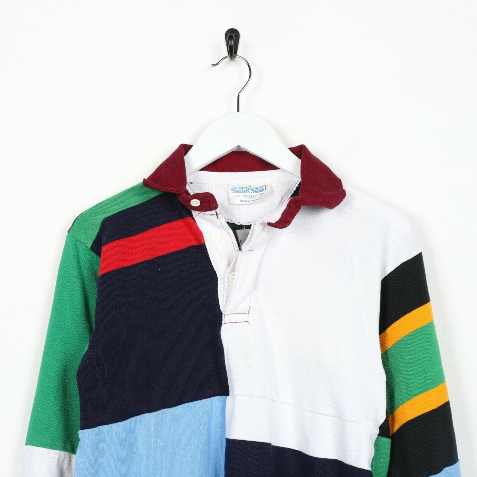 Vintage 90s ABSTRACT Long Sleeve Rugby Polo Shirt Top | XS